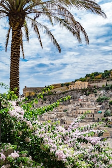 View of houses in old town modica, sicily
