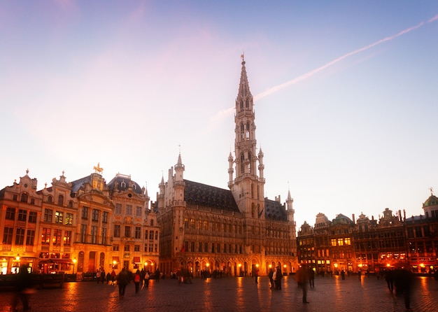 View of illuminated grand place and grote markt town square at night, brusseles, belgium, toned