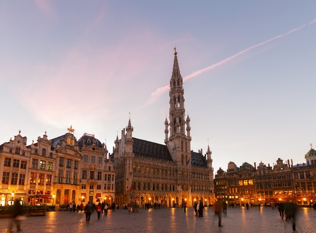 View of illuminated grand place and grote markt town square at night, brusseles, belgium
