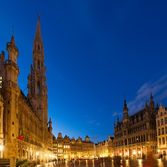 View of illuminated grand place and town square, brusseles, belgium