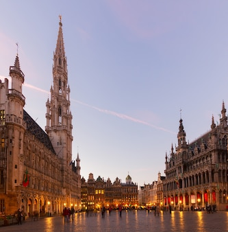 View of illuminated grand place and town square at night, brusseles, belgium