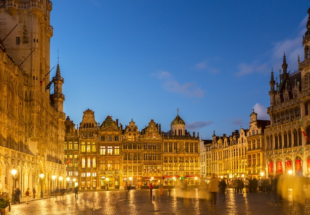 View of illuminated grand place  town square at night, brusseles, belgium