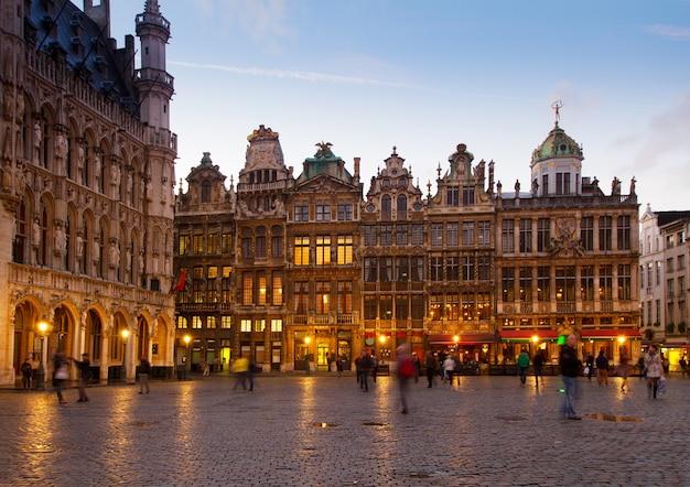 View of illuminated grote markt town square, brusseles, belgium
