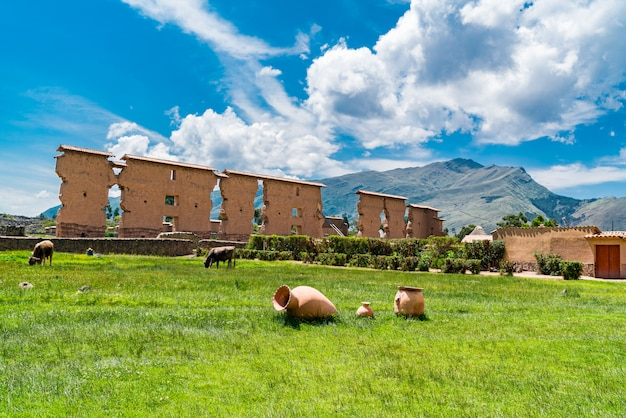 View of the inca archaeological site at cusco region