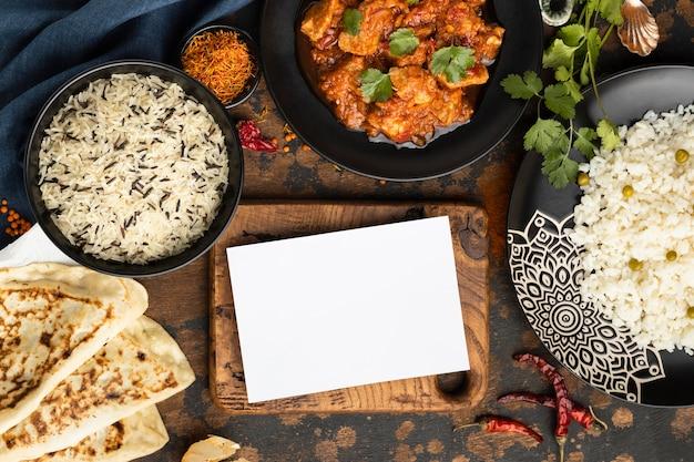 Above view indian food arrangement