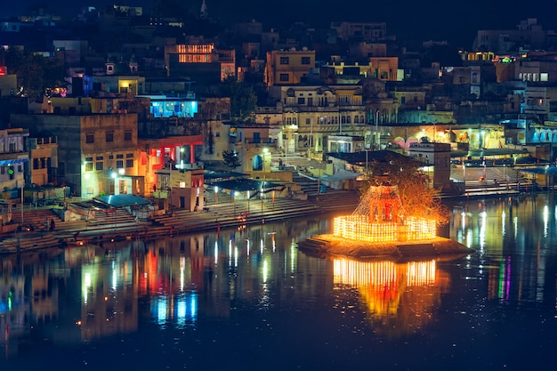 View of indian pilgrimage sacred city pushkar with pushkar ghats. rajasthan, india. horizontal pan