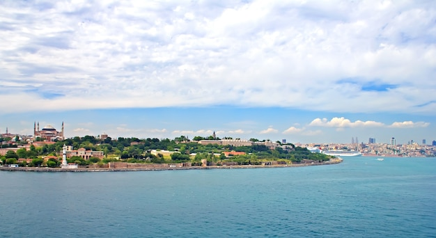 View of istanbul and bosphorus strait from the sea