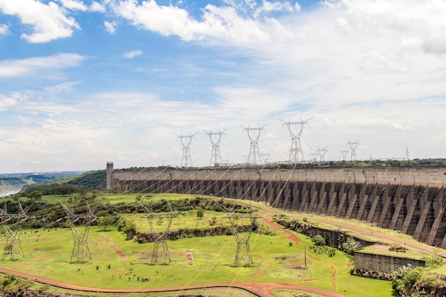 View of itaipu dam, hydroelectric power station between brazil and paraguay