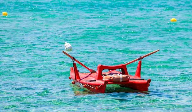 View of an italian lifeguard boat in the sea.
