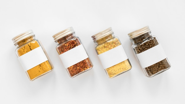 Above view jars with spices arrangement