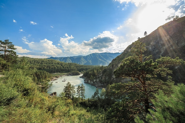 View of the katun river from the goat trail to the chemal hydroelectric power station