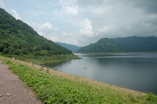 View of khun dan prakarnchon dam is landmark in thailand