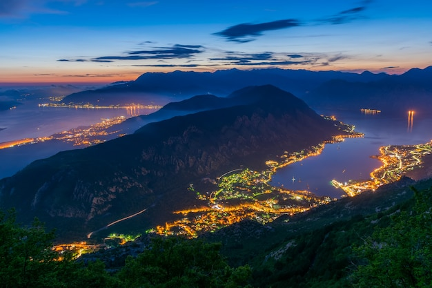View of kotor bay from a high mountain peak at sunset
