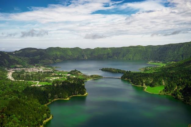 View of lagoa sete cidades lakes on sao miguel island