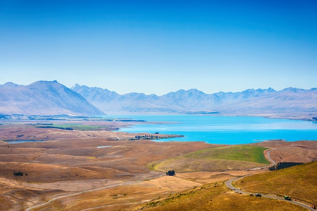 View of lake alexandrina seen from mount john at south island new zealand