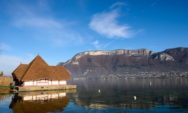 View of lake annecy in autumn