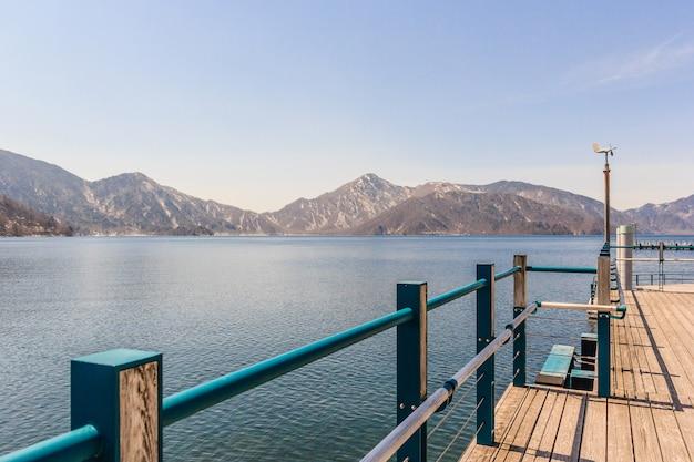 View of lake chuzenji in blue sky, nikko, japan