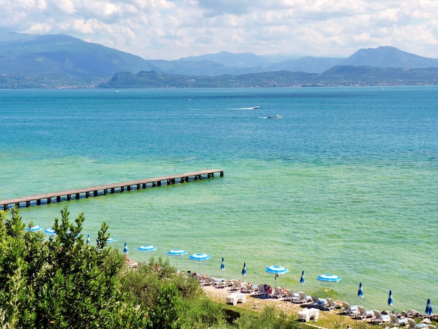 View to lake garda in italy mountains beach