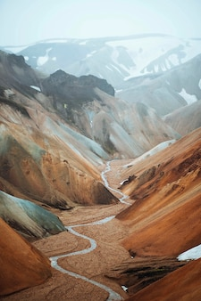 View of landmannalaugar in the fjallabak nature reserve, the highlands of iceland
