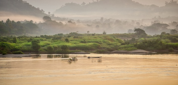 View landscape and flowing of water in mae khong river in morning time at thailand