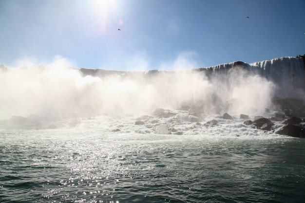View of landscape near center niagara falls from maid of the mist boat .
