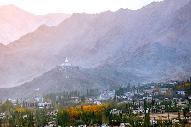 View of landscape shanti stupa in leh ladakh ,india