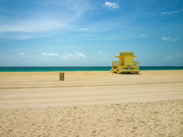 View of lifeguard post on miami beach.