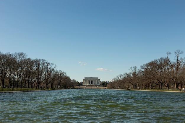 View of the lincoln memorial in the afternoon in washington dc, usa.
