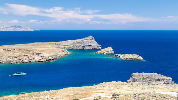 View of lindos bay, rhodes