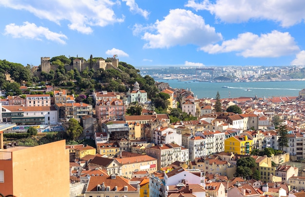 View of lisbon cityscape and saint jorge castle