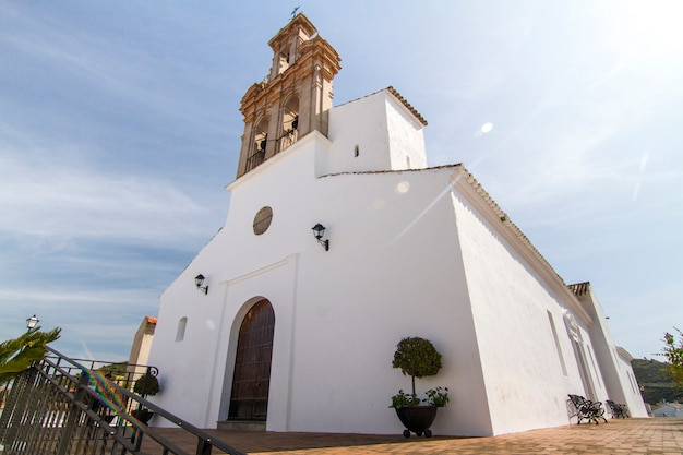 View of the local church located in spanish sanlucar town.