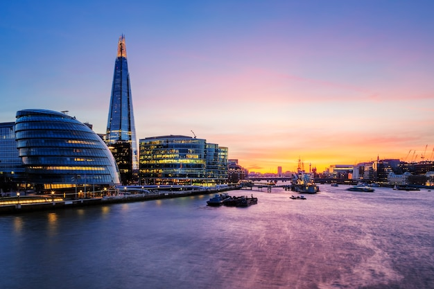 View of london city at sunset.