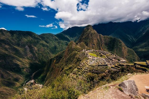 View of the lost incan city of machu picchu near cusco, peru.