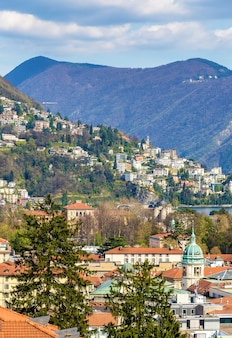 View of lugano town in swiss alps