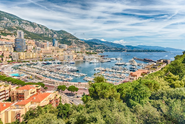 View over luxury yachts and apartments in monte carlo, monaco