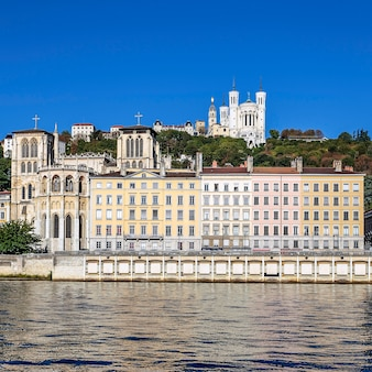 View of lyon city with famous basilica, france