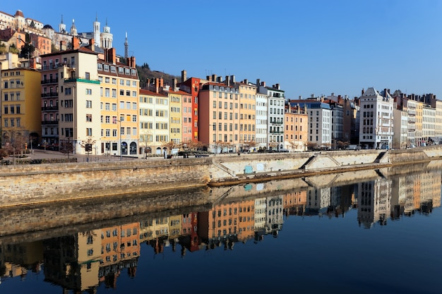 View of lyon and saone river in the morning light