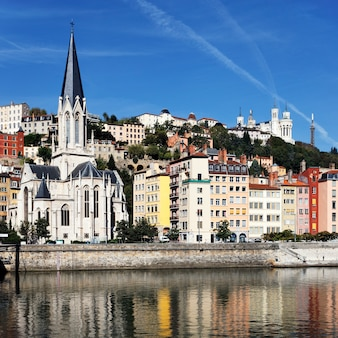 View of lyon and saone river in morning