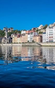 View of lyon and saone river in summer