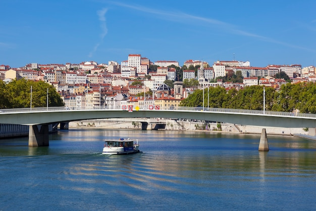 View on lyon and saone river in a sunny summer day
