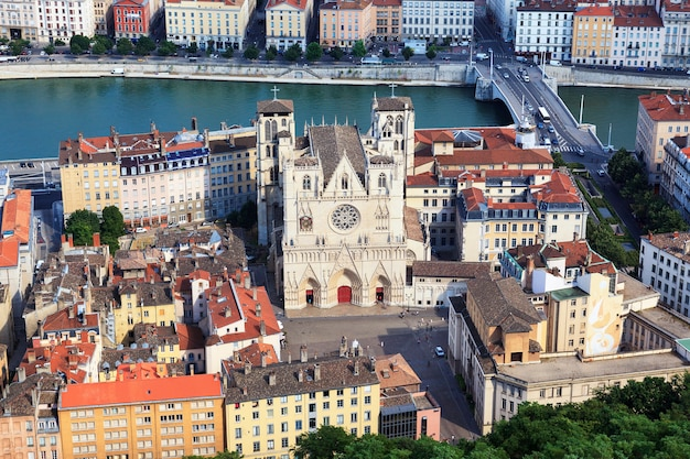 View of lyon with saint jean cathedral, france
