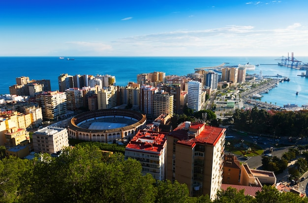 View of malaga with port and placa de torros from castle