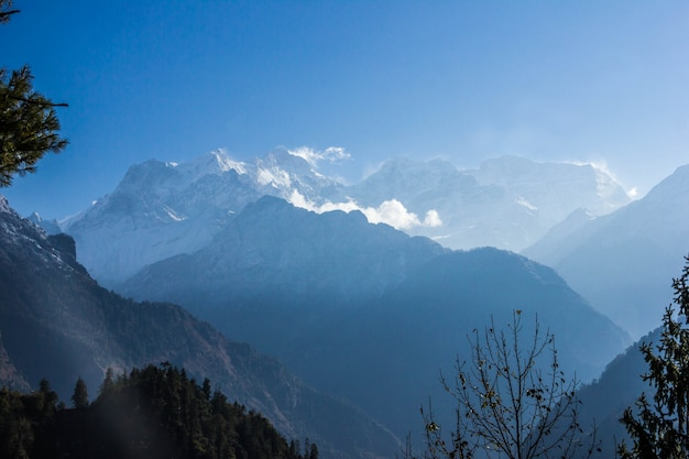 View of manaslu eight-thousands from the track around annapurna in nepal.
