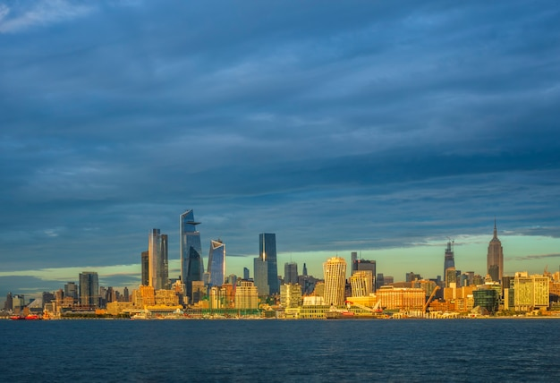 View of manhattan at sunset new york usa