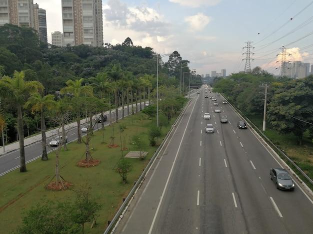 View of marginal pinheiros traffic in sao paulo city