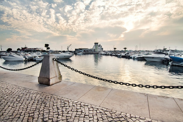 View of the marina of faro city located in the algarve, portugal.