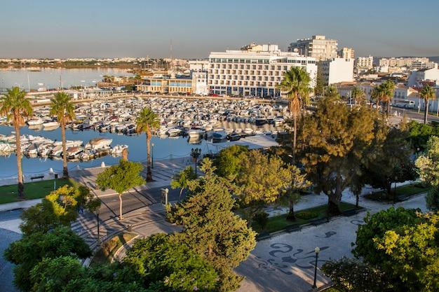 View of the marina located in faro, portugal.