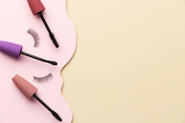 Above view mascara and false eyelashes