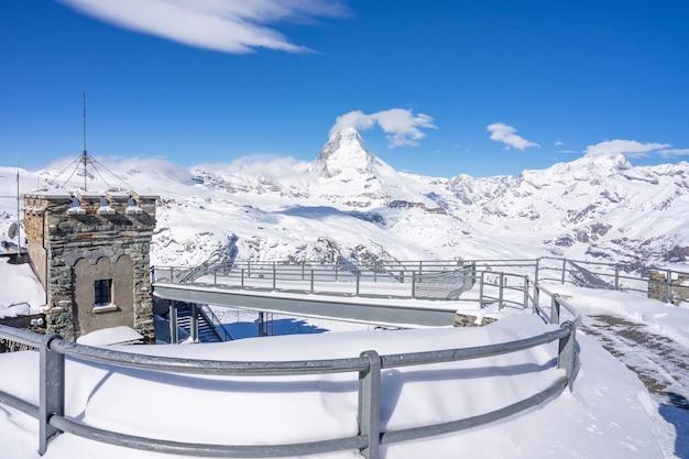 View of the matterhorn from gornegrat mountain. the matterhorn is a mountain of the alps