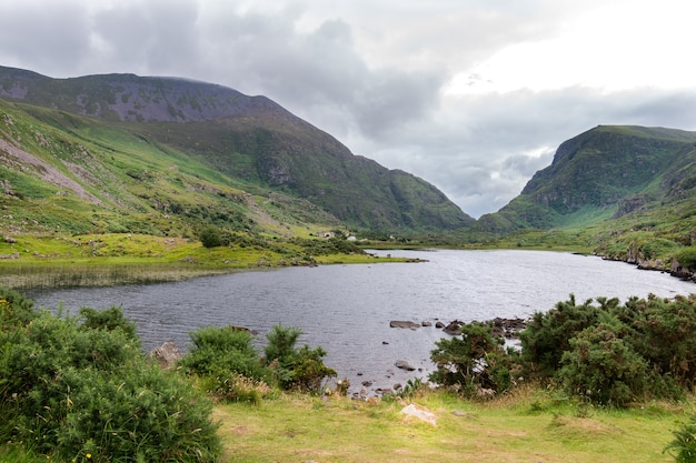 View of the mauntains over the lake in killarney national park